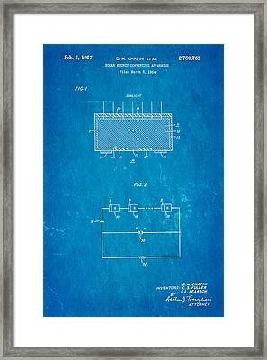 Chapin Solar Cell Patent Art 1957 Blueprint Framed Print by Ian Monk