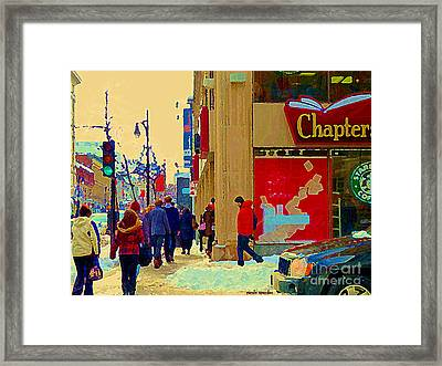 Chapters Book Store Downtown Montreal Winter Shopping St Catherine Street Scene C Spandau Framed Print by Carole Spandau
