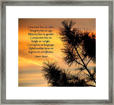 Character Has No Color Framed Print