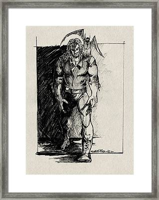 Framed Print featuring the drawing Character Sketch by Michele Engling