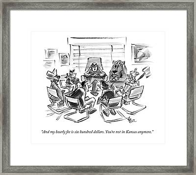 Characters From The Wizard Of Oz Have A Group Framed Print by Lee Lorenz