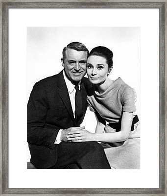 Charade Cary Grant Audrey Hepburn Framed Print by Silver Screen