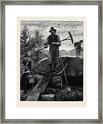 Charcoal Burners In The Alps Framed Print by English School