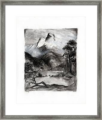 Charcoal Hills Framed Print by Gee Lyon