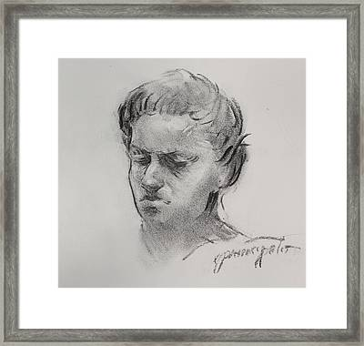 Charcoal Portrait Sketch Framed Print