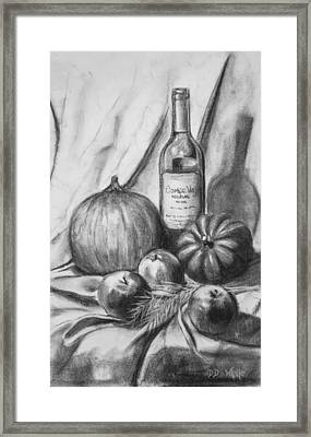 Framed Print featuring the drawing Charcoal Still Life Harvest by Dee Dee  Whittle