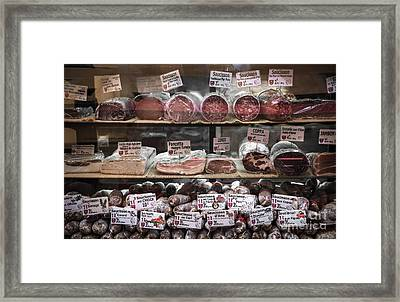 Charcuterie On Display In Butcher Shop In Old Nice Framed Print by Elena Elisseeva