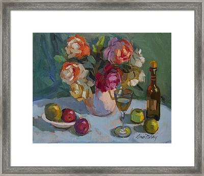 Chardonnay And Roses Framed Print by Diane McClary