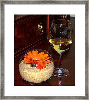 Chardonnay And Sand Flower Framed Print by Optical Playground By MP Ray