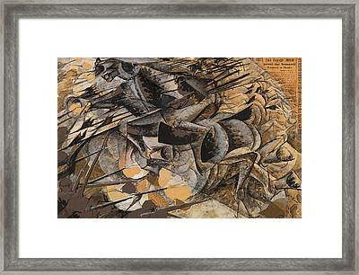 Charge Lancers Framed Print by Umberto Boccioni