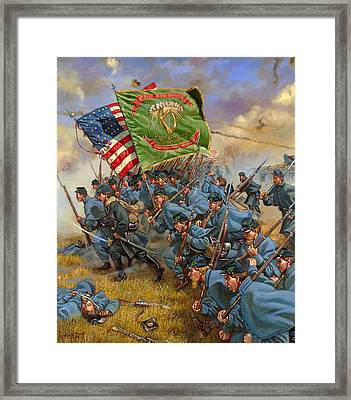 Charge Of The Irish Brigade Framed Print by Mark Maritato