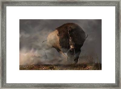 Charging Bison Framed Print by Daniel Eskridge
