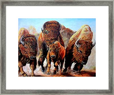 Charging Buffalo Framed Print
