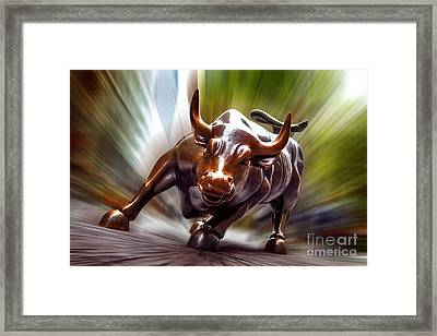 Charging Bull Framed Print by Az Jackson