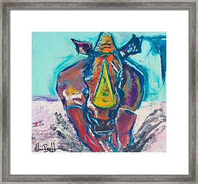 Charging Rhino - By Adam Brett Framed Print