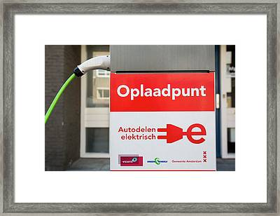 Charging Station For Electric Cars Framed Print by Ashley Cooper