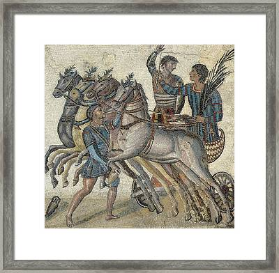 Chariot Race 3rd C.. Roman Art. Early Framed Print