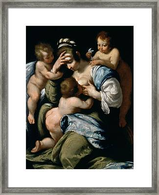 Charity Framed Print by Bernardo Strozzi