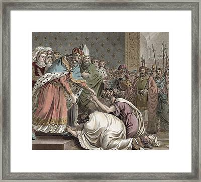 Charlemagne Receives The Ambassadors Framed Print by Jean Claude Naigeon