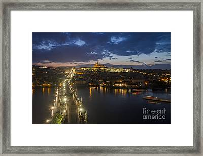 Charles Bridge And Prague Castle After Thunderstorm At Night Framed Print by Bart De Rijk