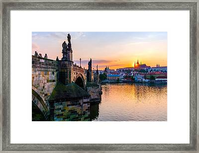 Charles Bridge And St. Vitus Cathedral In Prague Framed Print by Jim Hughes