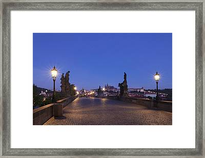 Charles Bridge At Dusk With Castle Framed Print by Panoramic Images