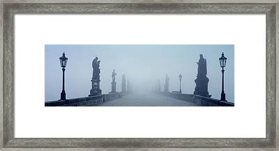 Charles Bridge In Fog Prague Czech Framed Print by Panoramic Images