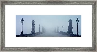 Charles Bridge In Fog Prague Czech Framed Print