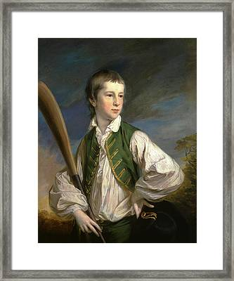 Charles Collyer As A Boy, With A Cricket Bat Signed Framed Print by Litz Collection