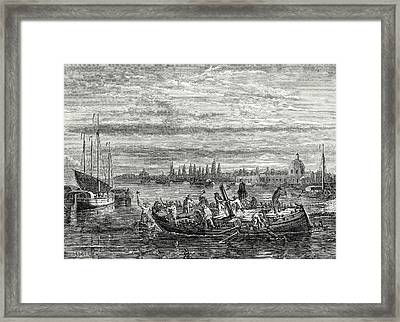 Charles Dallery Has His Propeller Steamboat Cut To Pieces Framed Print by English School