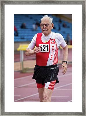 Charles Eugster 95 Senior British Athlete Framed Print by Alex Rotas