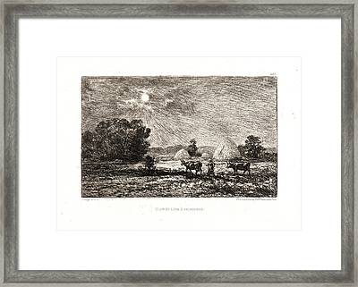 Charles François Daubigny French, 1817 - 1878. Moonlight Framed Print