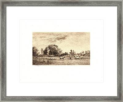 Charles François Daubigny French, 1817 - 1878. Moonrise Framed Print by Litz Collection
