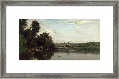 Charles-françois Daubigny, Washerwomen At The Oise River Framed Print by Quint Lox