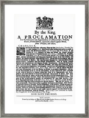 Charles II Warrant, 1667 Framed Print by Granger