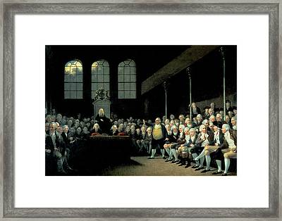 Charles James Fox 1749-1806 Addressing The House Of Commons During The Pitt Ministry Oil On Canvas Framed Print by Anton Hickel
