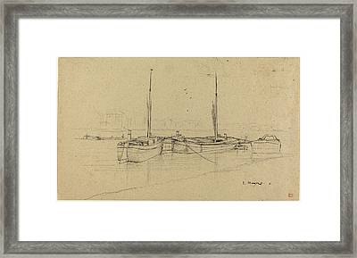 Charles Meryon French, 1821 - 1868, Boats On River Framed Print by Quint Lox