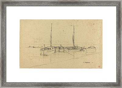 Charles Meryon, French 1821-1868, Boats On River With Masts Framed Print by Litz Collection