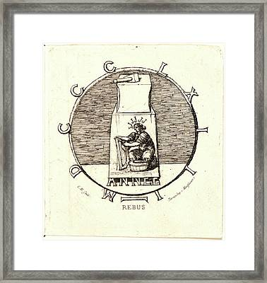 Charles Meryon French, 1821 - 1868. Rebus Here Lies Framed Print by Litz Collection