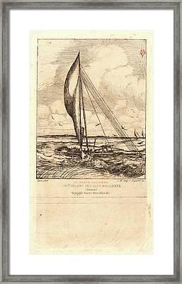 Charles Meryon French, 1821 - 1868. Swift-sailing Proa Framed Print