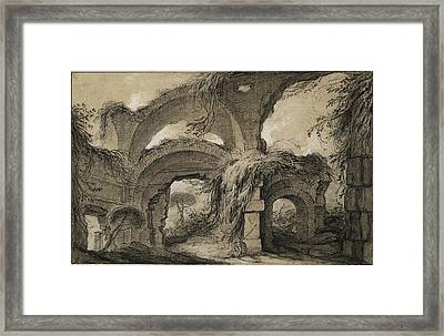 Charles Michel-ange Challe, Arches Of The Larger Baths Framed Print by Quint Lox