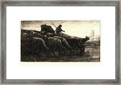 Charles Émile Jacque French, 1813 - 1894. Herd Of Cows Framed Print