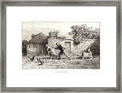Charles Émile Jacque French, 1813 - 1894. The Carriage Framed Print