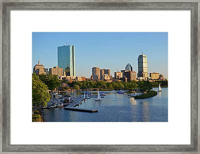 Charles River At Sunset Framed Print