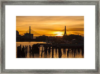 Charles River Sunset Framed Print by T C Hoffman