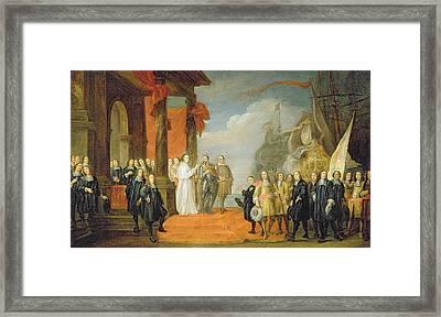 Charles V Leaving The Town Of Dort Framed Print by David the Elder Teniers