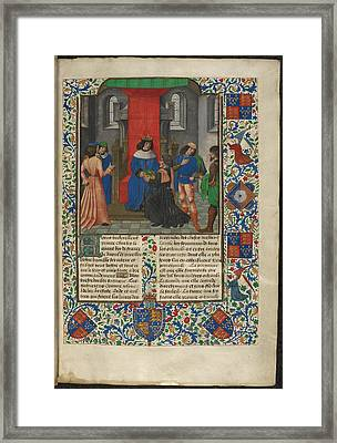 Charles V Receives Book From Translator Framed Print by British Library