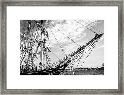Charles W. Morgan - Majestic Ship - Black And White Framed Print