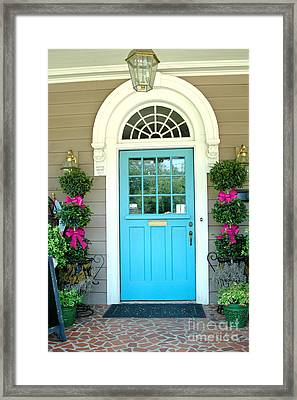 Charleston Aqua Teal French Quarter Doors - Charleston Aqua Blue Teal Garden Door Framed Print by Kathy Fornal