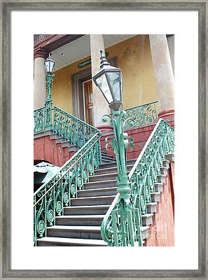 Charleston Aqua Teal French Quarter Staircase - Charleston Architecture  Framed Print by Kathy Fornal